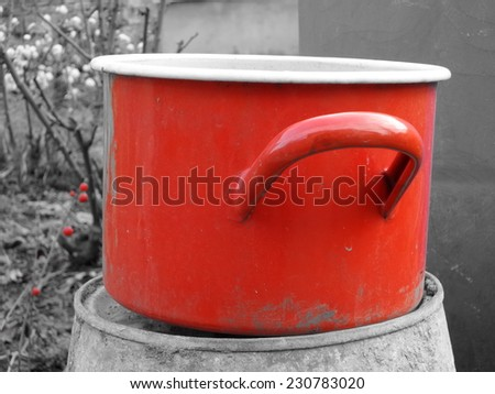 Red Grayscale pan in nature - stock photo