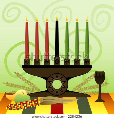 Red, Green and Black candles in a Kwanzaa Kinara, representing the 7 principles of Unity, Self-determination, Work and Resposibilty, Cooperative Economics, Purpose, Creativity and Faith - stock photo