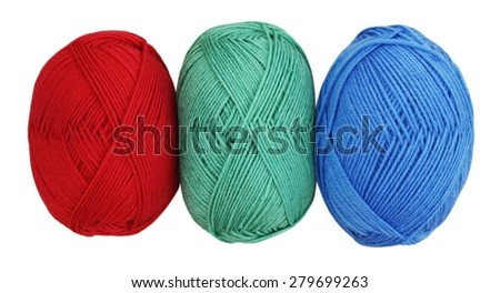 Red, green and blue balls of yarn, isolated on white background