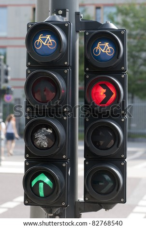 Red , green, and blue color on the traffic light for bicycles - stock photo
