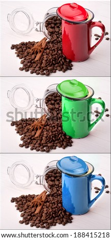 red, green and blue cup of Coffee set. Collage background