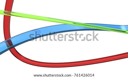 Red, green and blue glass abstract ribbons and flows - 3D Illustration