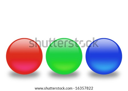 Red, green and blue spheres in a line