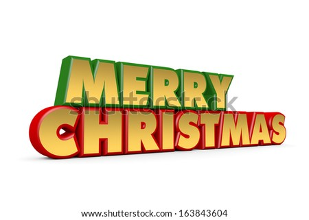 Red, green and gold Merry Christmas greetings on white background - stock photo