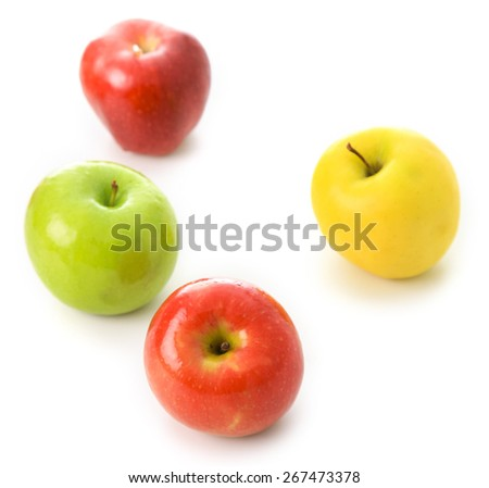 red green and yellow apple fruit  on white background - stock photo