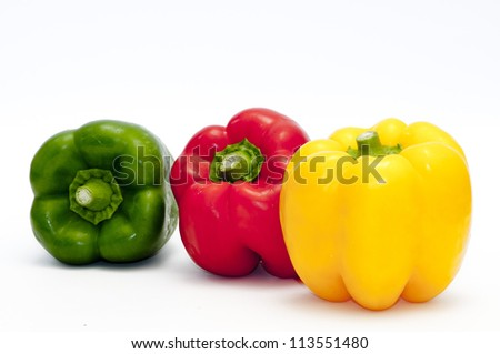 red, green and yellow peppers - stock photo