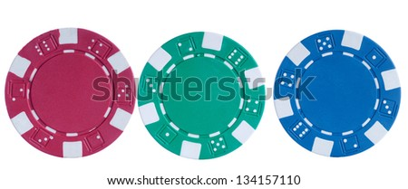 Red green blue poker chips isolated on white background - stock photo