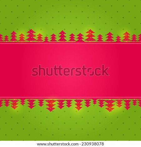 Red Green New Year Background Card with Paper Christmas Tree - stock photo