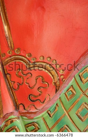 Red, green temple motif