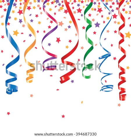 Red, green, yellow, blue shiny curling ribbons or party serpentine with stellar confetti. Isolated on white - stock photo