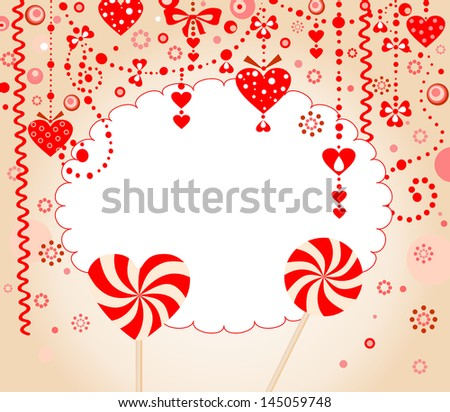 Red greeting card. Raster copy of vector image - stock photo