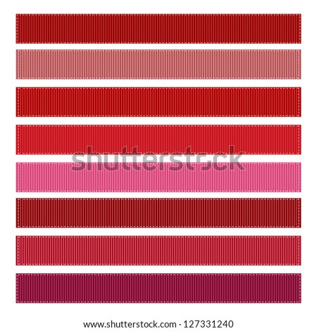 Red Grosgrain Ribbon Textures Illustration - stock photo