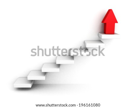 red growing up success arrow and upstairs steps ladder. 3d render illustration - stock photo