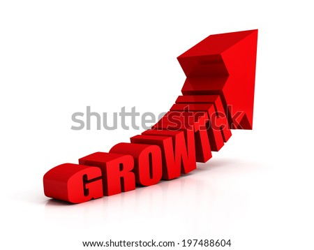 red growth text arrow on white background. success oncept 3d render illustration - stock photo
