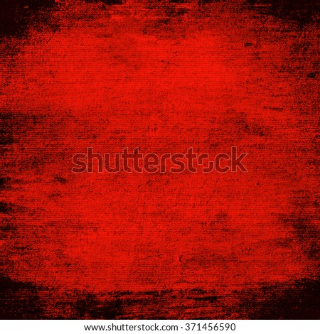 red grunge background old canvas fabric texture black frame - stock photo