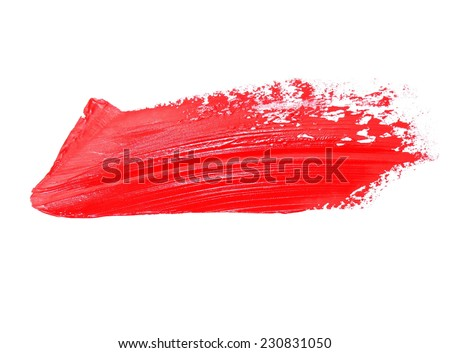 red grunge brush strokes oil paint isolated on white background - stock photo