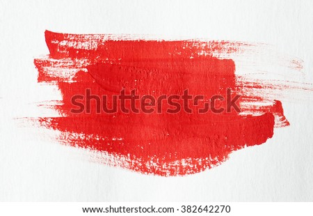 Red grunge brush strokes watercolor paint - stock photo