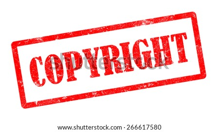 red grunge copyright stamp with rectangle frame on white background, illustration - stock photo