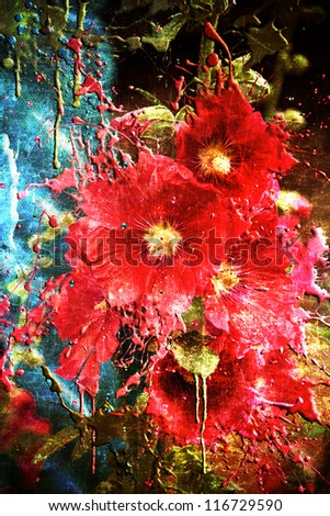 Red grunge flowers with dripping paint scratched and aged to the max - stock photo