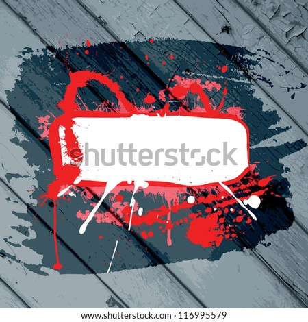 red grunge frame with splashes on a stripped wooden background