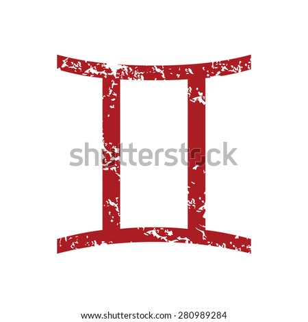 Red grunge Gemini logo on a white background - stock photo