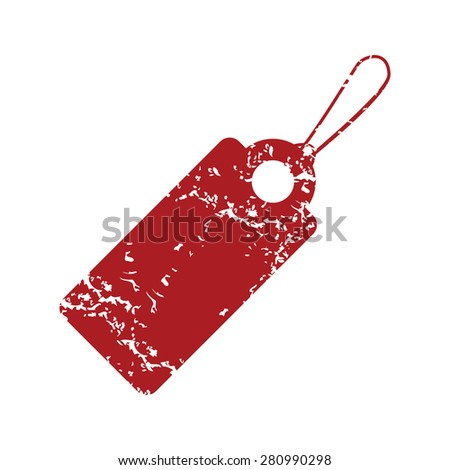 Red grunge price tag logo on a white background - stock photo