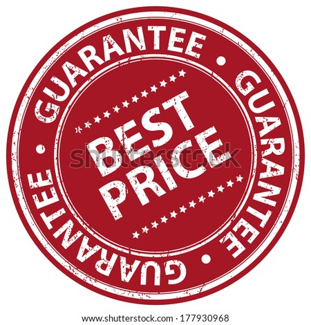 Red Grunge Style Best Price Guarantee Icon, Badge, Label or Sticker for Promotional Sale or Marketing Campaign Isolated on White Background