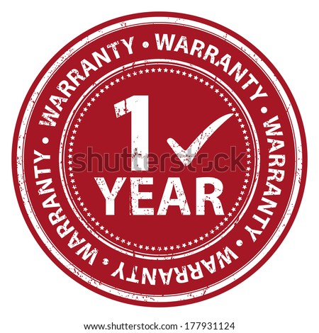Red Grunge Style 1 Year Warranty Icon, Badge, Label or Sticker for Product Warranty, Quality Control, Quality Assurance, Quality Management, CRM or Customer Satisfaction Concept Isolated on White - stock photo