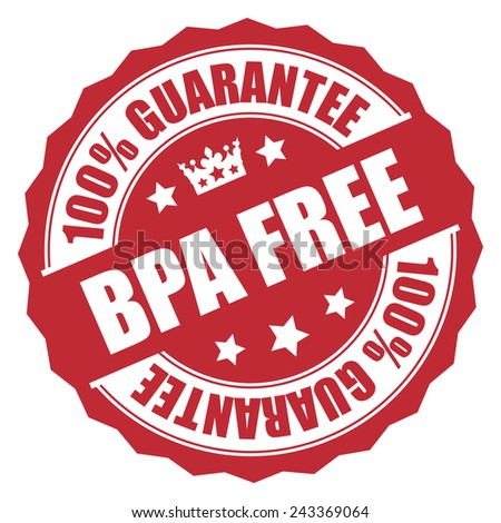 Red 100% Guarantee BPA Free Stamp, Badge, Sticker, Icon or Label Isolated on White Background