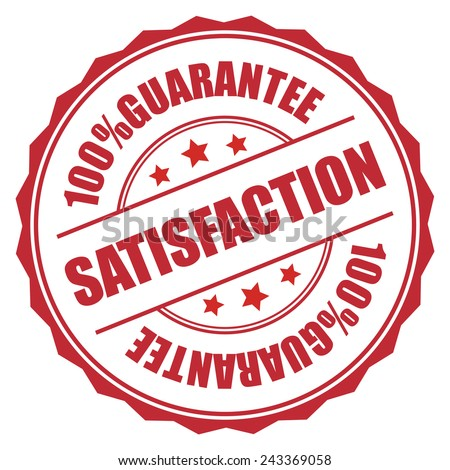 Red 100% Guarantee Satisfaction Stamp, Badge, Sticker, Icon or Label Isolated on White Background  - stock photo