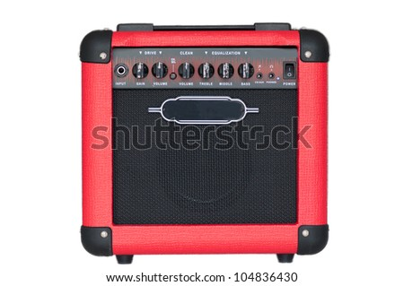 red guitar amplifier isolated on white background - stock photo