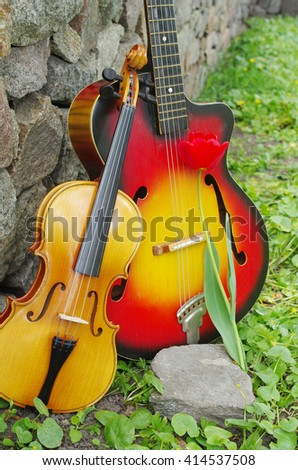 Red guitar and violin.