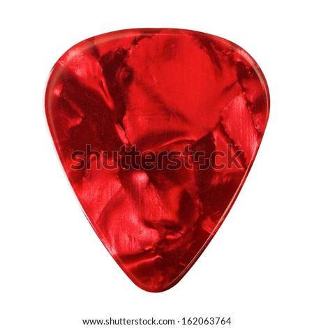 red guitar plectrum, isolated on white background - stock photo