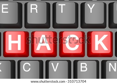 Red hack button on modern computer keyboard image with hi-res rendered artwork that could be used for any graphic design. - stock photo