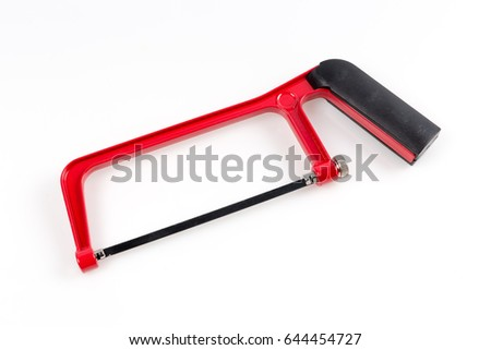 Red Hack saw on the white background