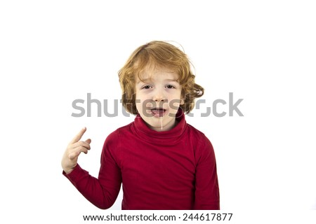 red hair child isolated white background