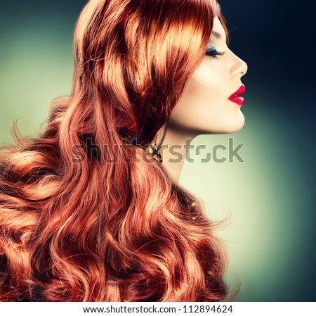 Red Hair.Fashion Red Haired Girl Portrait.Hair Extension - stock photo