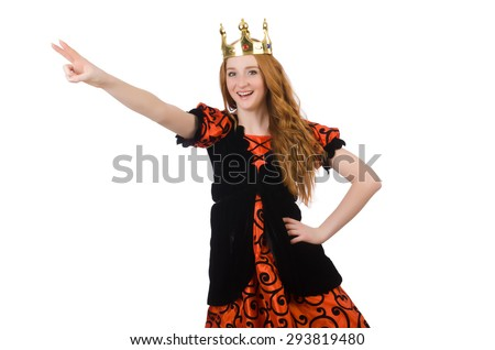 Red hair princess in orange dress isolated on white - stock photo