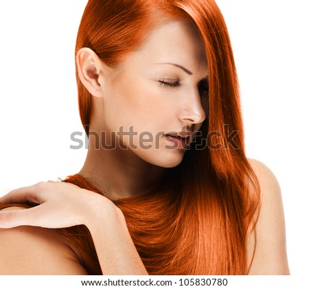 red haired beautiful woman , long straight hair - stock photo