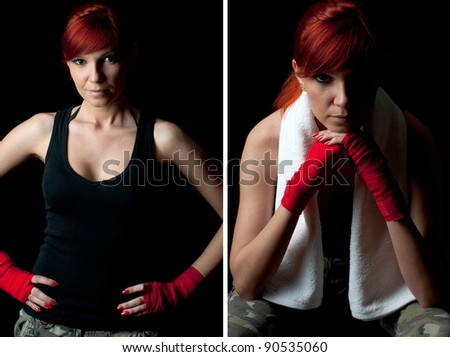 Red-haired caucasian young woman in boxing bandage, collage - stock photo