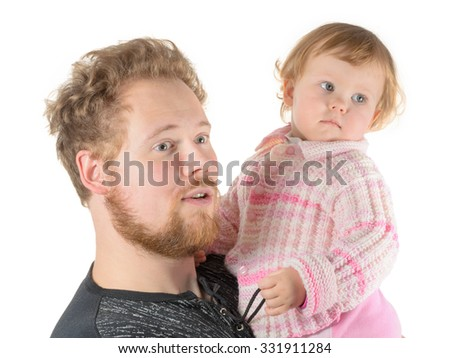 red-haired father and daughter - stock photo