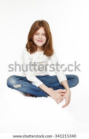 red-haired girl on a white background