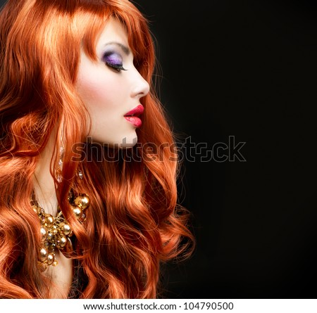Red Haired Girl Portrait over Black