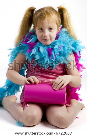 red-haired girl with birthday presents - stock photo