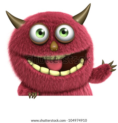 red hairy monster - stock photo
