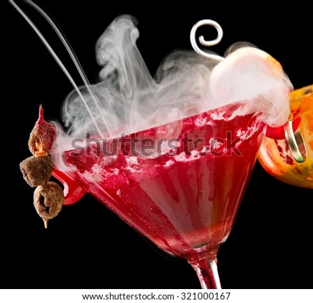 Red Halloween cocktail with smoke
