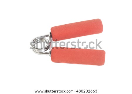 Red hand expander isolated on white background
