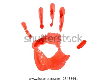 Red hand imprint on paper