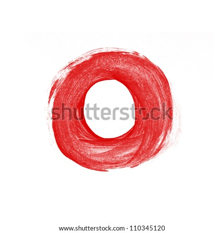 Red hand painted brush stroke circle