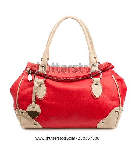 Red handbag isolated on white background.